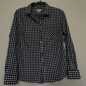 Dark Navy Blue and White checkered Button Down Top